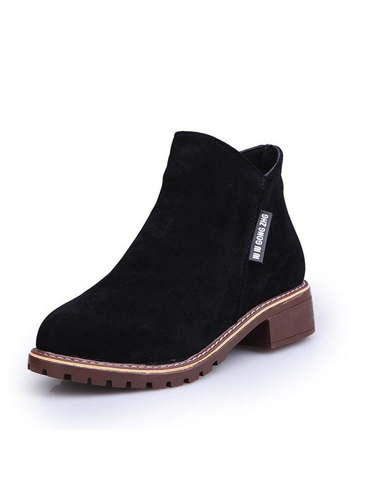 Classic Zipper Grind Crumbly Warm Plush Ankle Boots