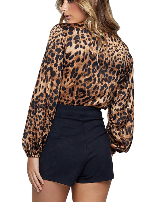 Chic Leopard Long-sleeve Romper