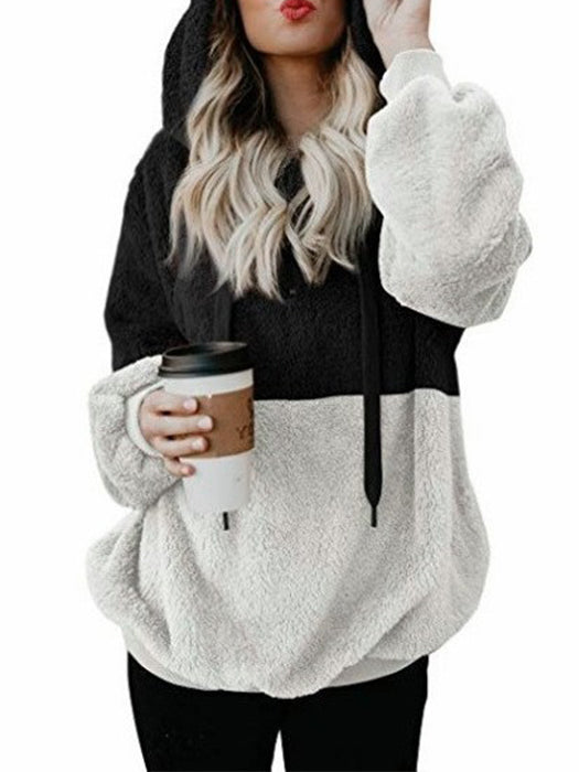 Plush Color Block Pullover Hoodie