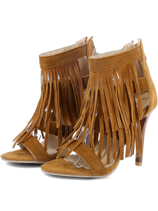 Ankle Boots With Tassels And Zip-up Sandals