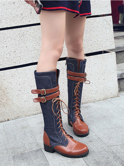 Winter Fashion Lace Up Punk Martin Boot Knee Boots