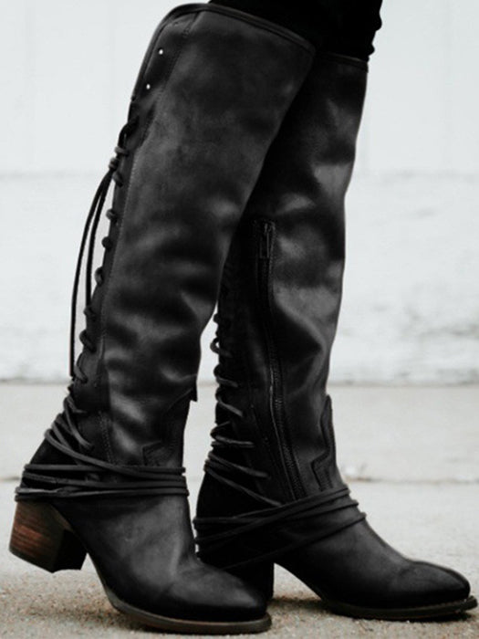 Women Lace Up Knee High Boots Vintage Cowhide Leather Side Buttons High Boots