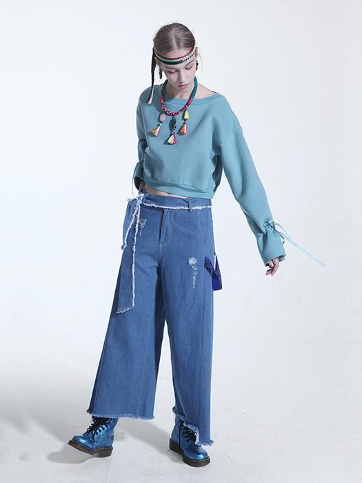 Crew Neck Printed Crop Hoodie With Ribbon Drawstring Cuff In Blue