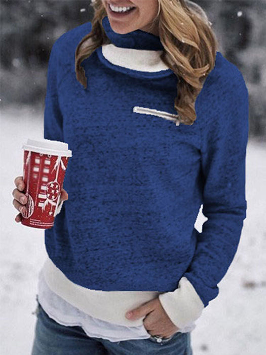 Solid Color Fashion Slim Zipper Design Fleece Warm Sweater