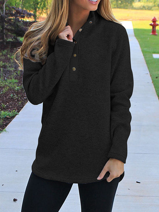 High Collar Button Design Long Sleeve Sweatshirt