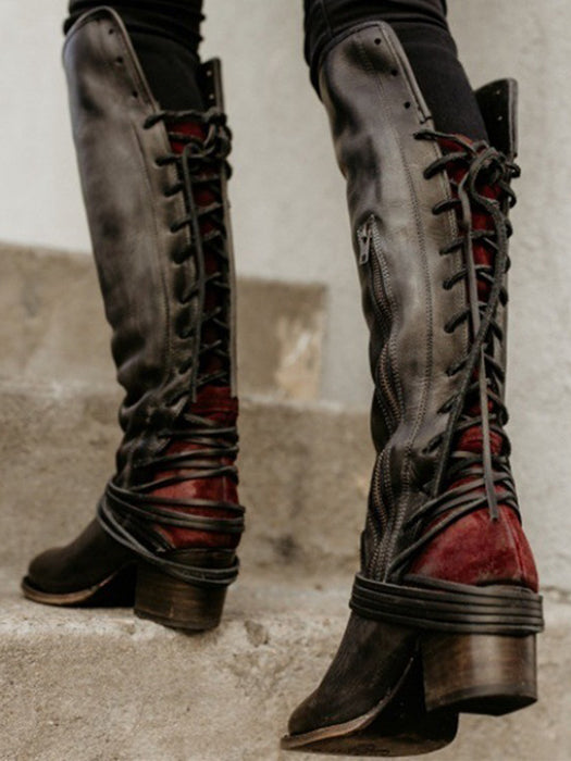 f8d95e6810ff Women Lace Up Knee High Boots Vintage Cowhide Leather Side Buttons High  Boots