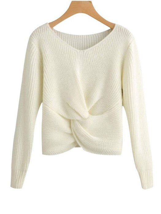 Casual Loose Solid Color Long-Sleeved Knitting Sweater