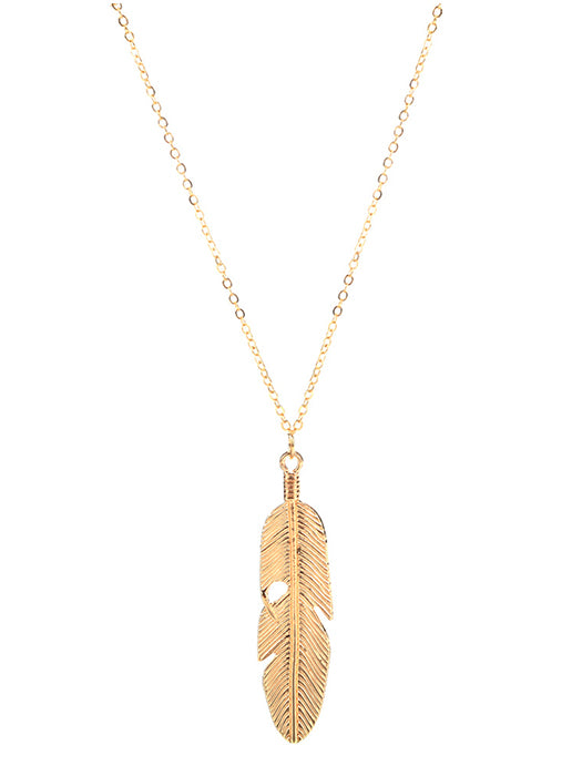 Feather Pendant Chain Necklace