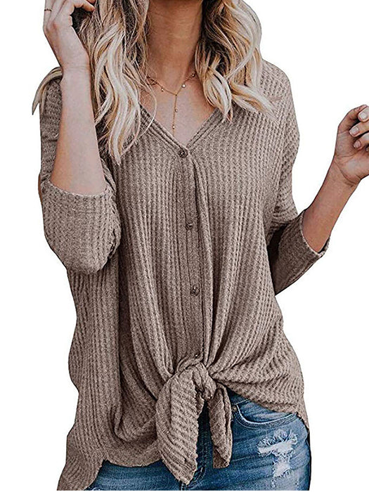 Loose Fitting Tie Knot Knitted Blouse