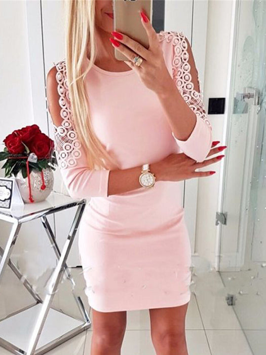 Lace Hollow Out Slim Fit Off Shoulder Dress