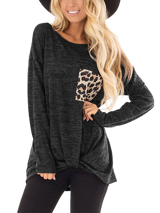 Long Sleeve Crew-neck Loose Blouse  With Leopard Pattern Pockets