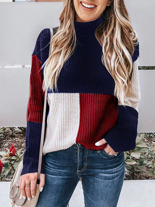 Casual Mock Neck Patchwork Sweater