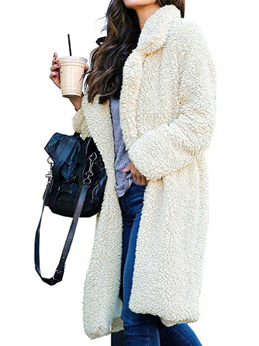 Long Sleeve Solid Color Open Front Plush Overcoat