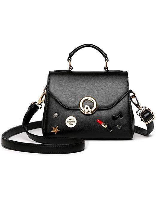 Badged Ring Lock Handbag