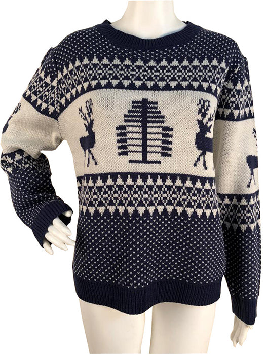 Women Sweater Fashion Deer Print Knit Sweater Christmas Sweaters