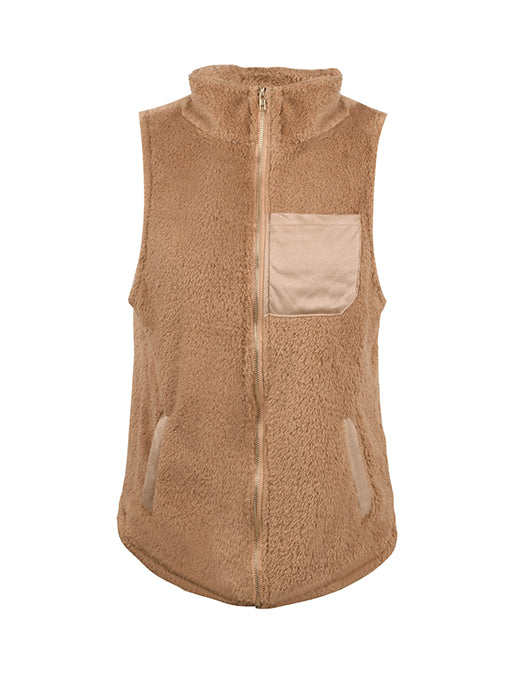 Zip up Faux Fur Vest Coat