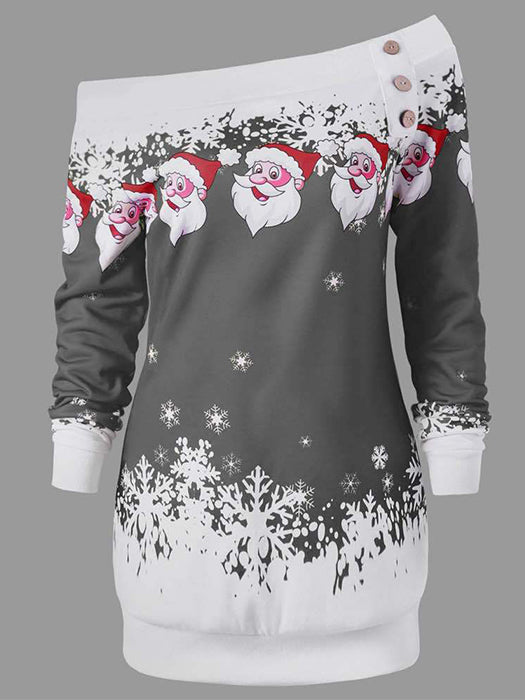 Long Sleeve Slash Neck Santa Claus Print Sweatshirts Christmas Outwear Pullovers