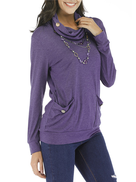 Solid Color Turtle Neck Pockets Design Knitted Pullover