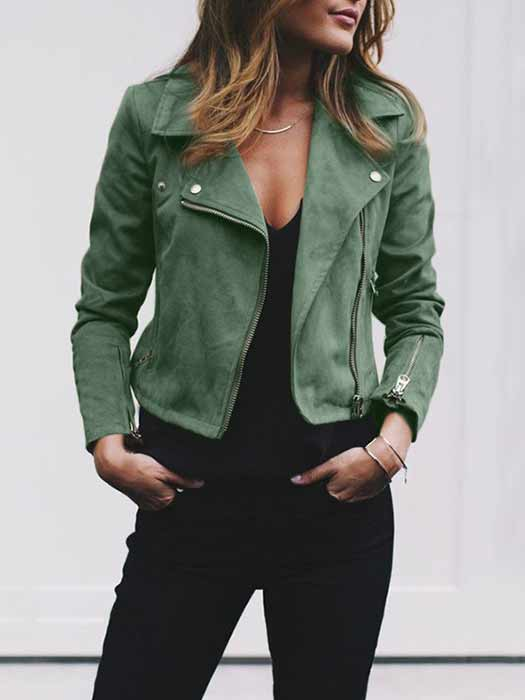 Retro Turndown Collar Rivet Zipper Up Jackets