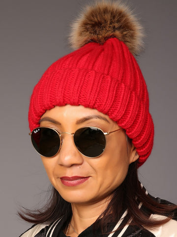 Metal Colour Turn-up Brim Hat With Faux Fur Bobble