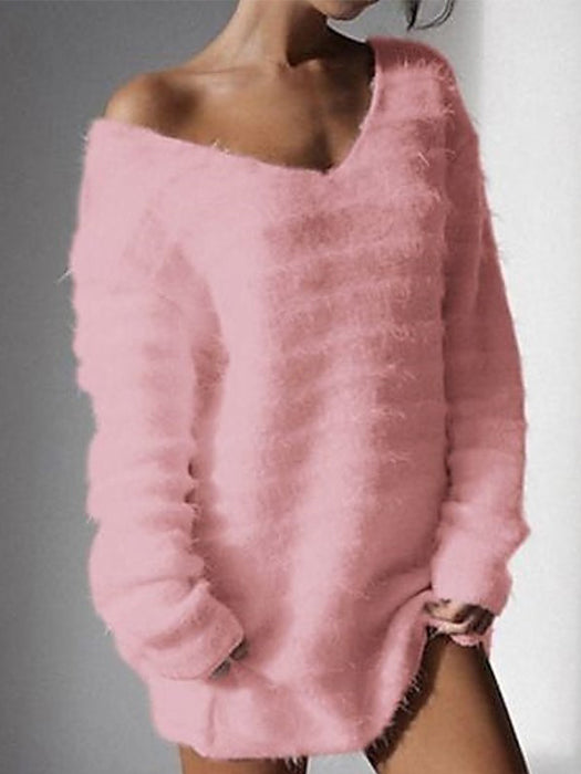 Long Sleeve V-neck Loose Casual Knitted Pullover Sweaters