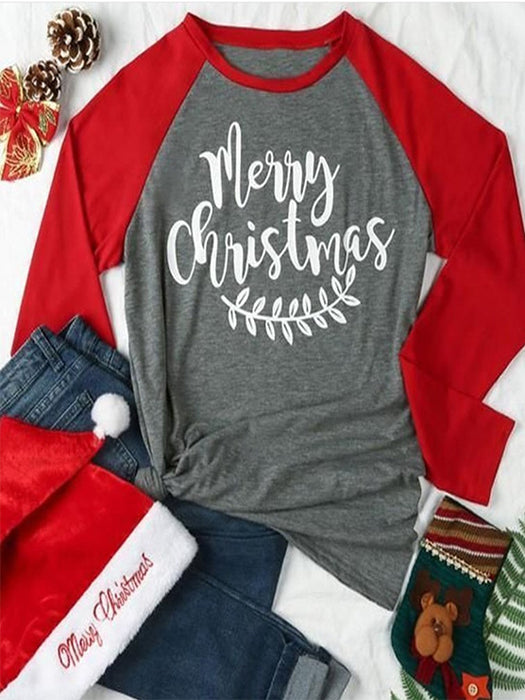 Patchwork Monogram Print Long Sleeve Round Neck Casual Christmas T-Shirt