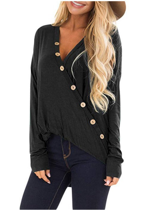 Button Up Drop Shoulder Top with Twisted Hem
