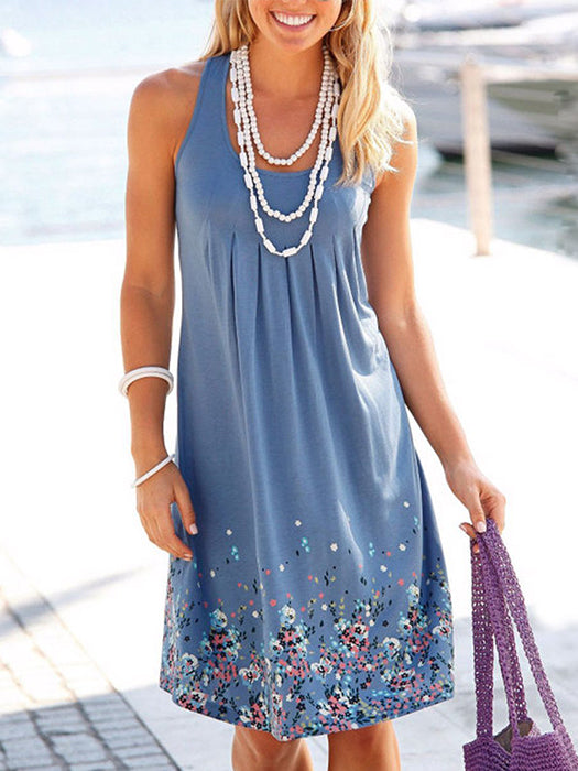 Women Plus Size Sleeveless Floral Tank Shift Dress
