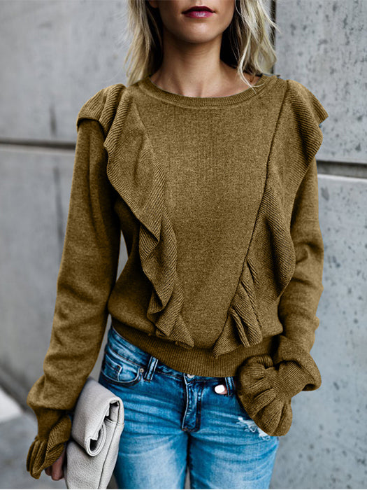 Long Sleeve Solid Color Ruffled Knitted Tops