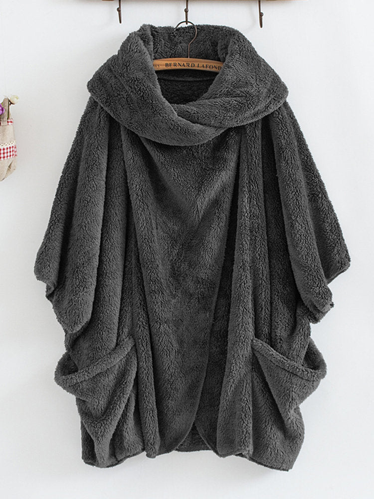 Plush Top Collar Bat Sleeve Cardigan Coat
