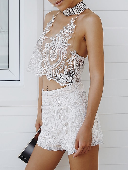 Back-Zip See-through White Lace Crop Top
