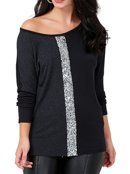 Color Block Sequins Design Casual Round Neck Long Sleeve T-shirt
