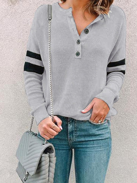 Round Neck Striped Button Design Pullover