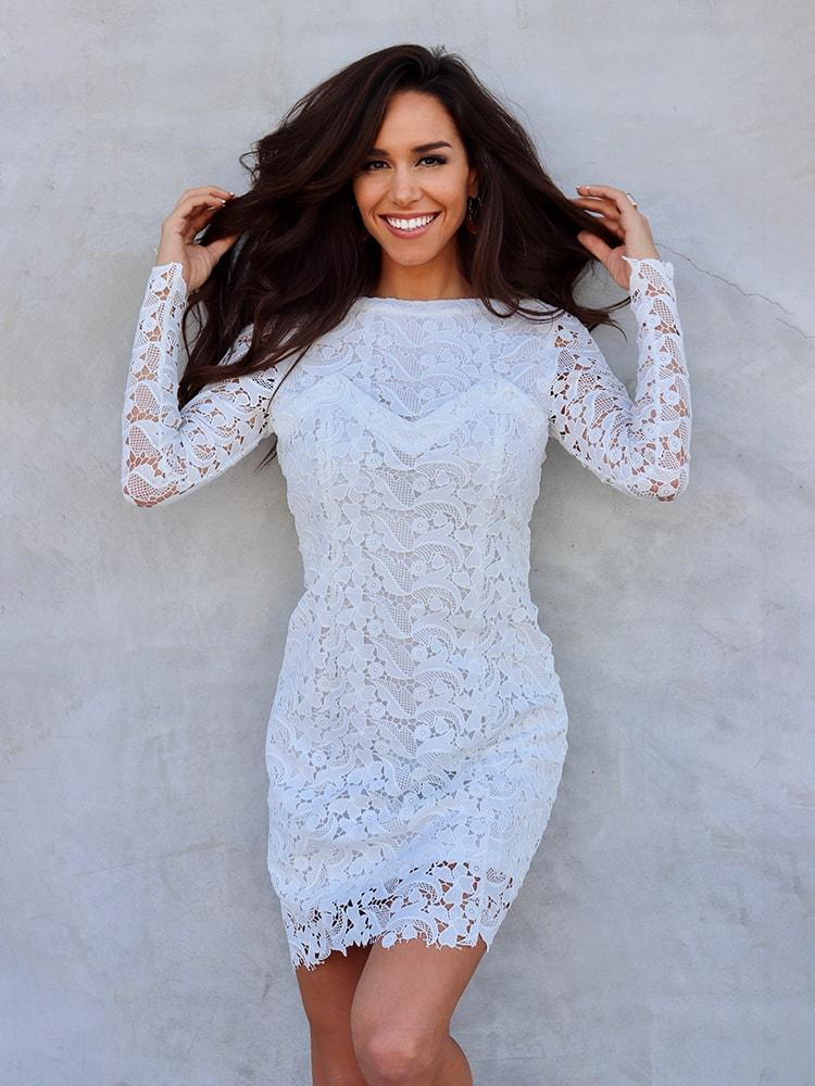 4fadb0a629 Long Sleeve Lace Dress With Chest Details In White – WhatsMode