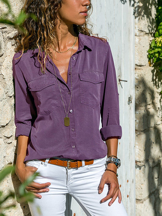Casual Long Sleeve Pockets Buttons Design Shirt Blouse