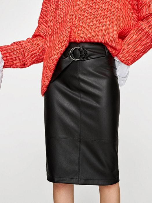 Basic Faux Leather Hoop Buckle Pencil Skirt