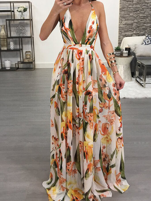 f9d5972ae5eb Sexy V-neck Backless Floral Print Maxi Dress – WhatsMode