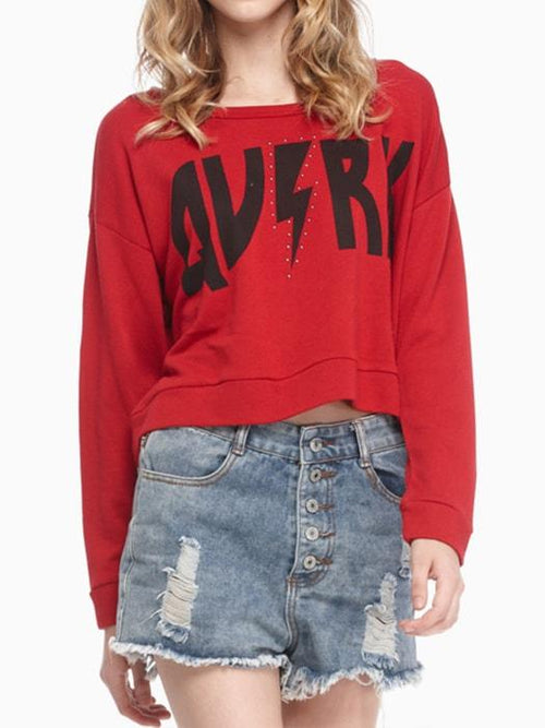 Crew Neck Script Crop Sweatshirt