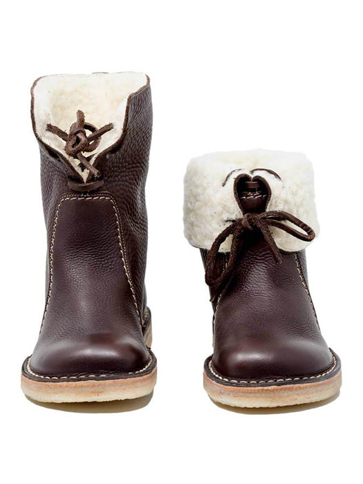 Women Casual Vintage Bowknot Decoration Winter Snow Boots