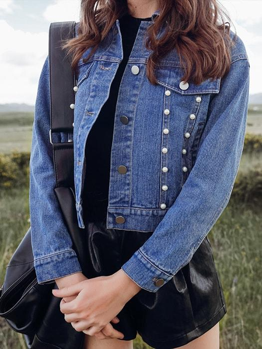 Stereo Pearl Studded Denim Jacket