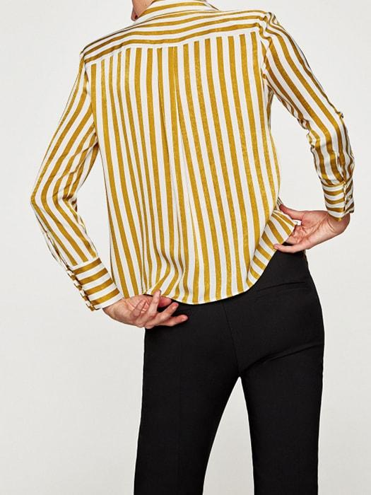 Golden Stripe Frilly Front Satin Top