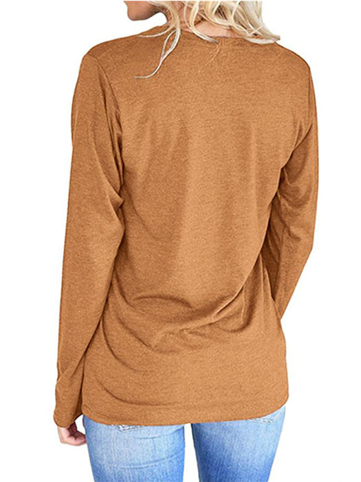 Solid Color Casual Letter Printed Round Neck Sweatshirt