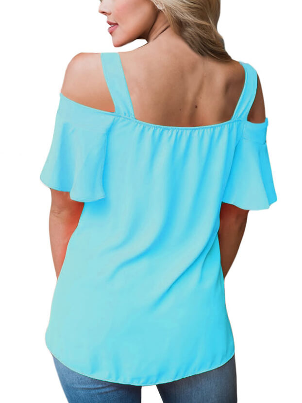 Acid Blue Open Shoulder Ruffle Sleeve Asymmetric Hem Top