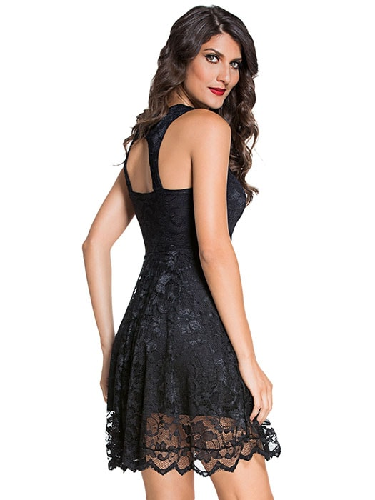 All Black Lace Party Skater Dress