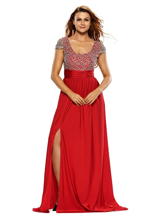 Amazing Gold Lace Overlay Red Slit Maxi Evening Gown – WhatsMode