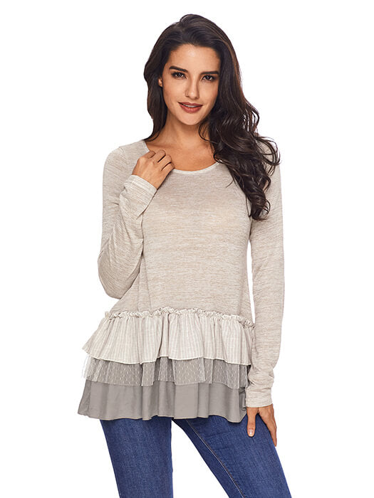 3a2a07b2d1203 Apricot Stripes and Lace Ruffle Long Sleeve Top – WhatsMode