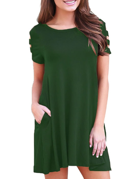 7186e9bb852d1 Army Green Banded Short Sleeve Relaxing Casual Dress – WhatsMode