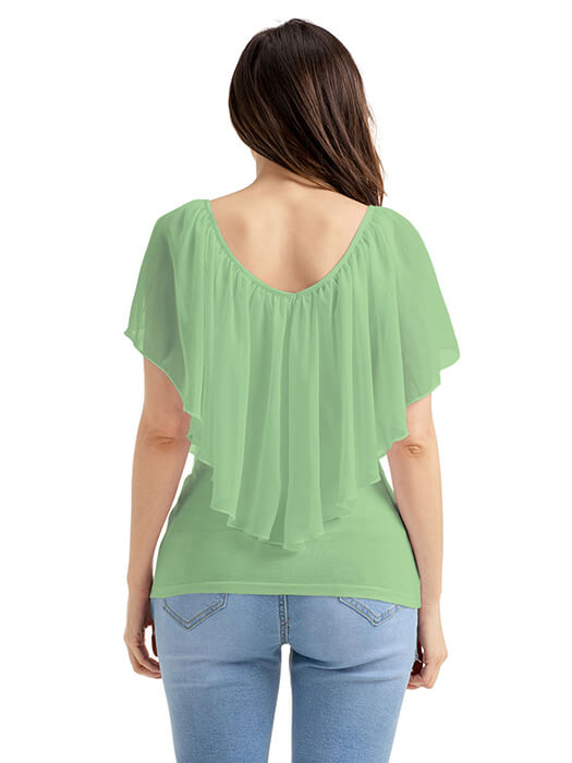 f572e9c6adaa92 Army Green Cold Shoulder Flutter Top – WhatsMode