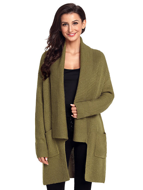 1ff1c6f860e120 Army Green Comfy Cozy Pocketed Cardigan