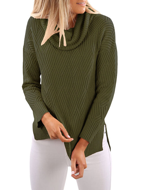 22857366dd0dbc Army Green Crisscross Cold Shoulder Long Sleeve Shirt.  13.99. Army Green  Cowl Neck Side Split Sweater